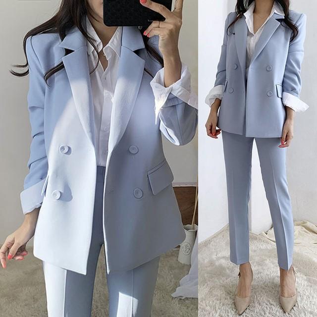 パンツスーツ セットアップ ダブルボタンジャケット スリムパンツ 無地 クール カッコいい マニッシュ 大人女子 通勤 オフィス TP3257