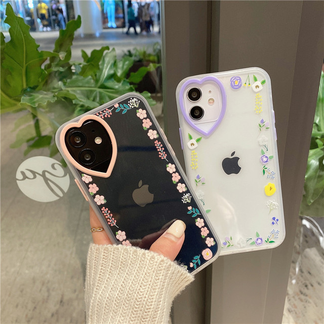 Small floral heart iphone case