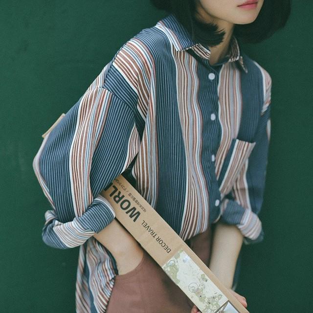 【tops】学園風ルーズストライプポロネックドルマンスリーブシャツ