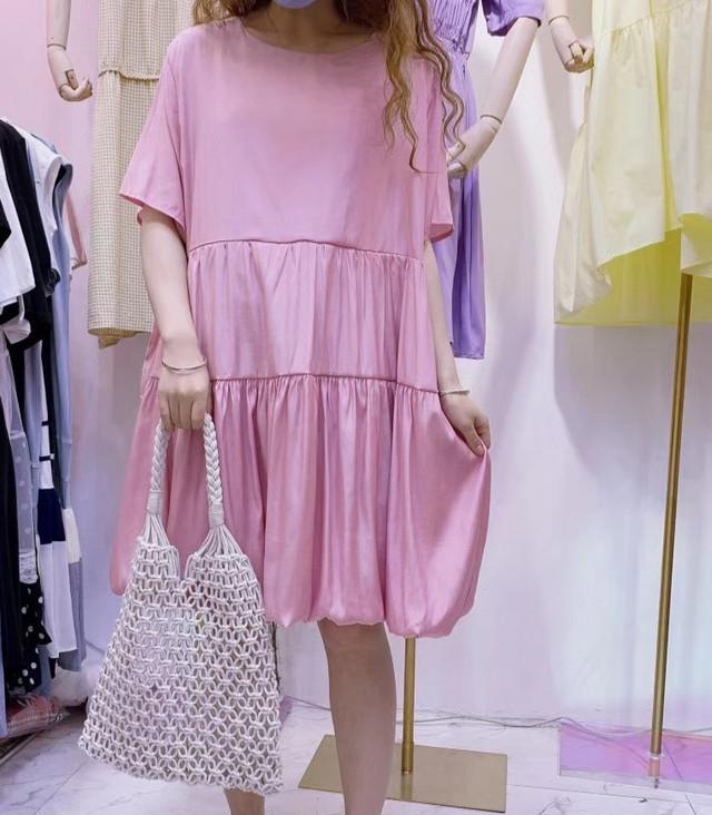 【アパレル・トップス】後ろおリボン 裾バルーン・ピンク
