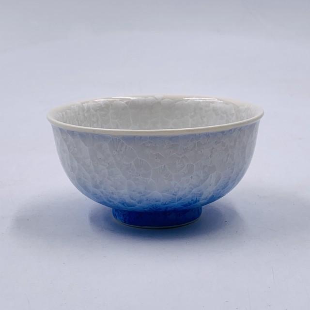 【陶あん】outlet 京焼 清水焼 花結晶 白青グラデーション ふくりん茶碗(大)*限定5個*