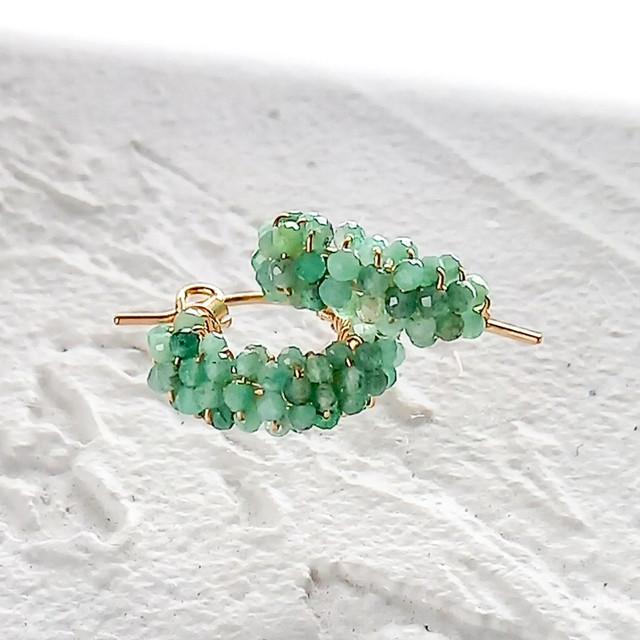 14kgf*Emerald pavé pierced earrings / earrings