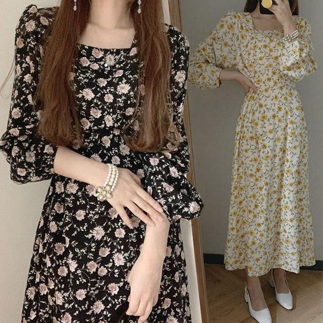 花柄ワンピース 長袖 スクエアネック 薄い ロングワンピース ハイウエスト 韓国ファッション レディース 花柄 ワンピース 大人可愛い ガーリー フェミニン / Square color small floral chiffon dress (DTC-637711568791)