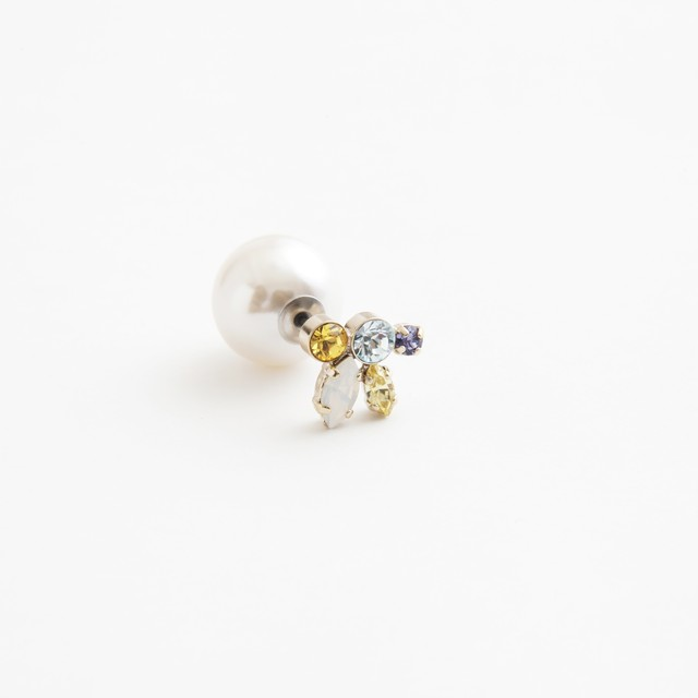MAYU/PEARL RIVETS Lt.Yellow Mix, 14mm White Pearl(片耳)