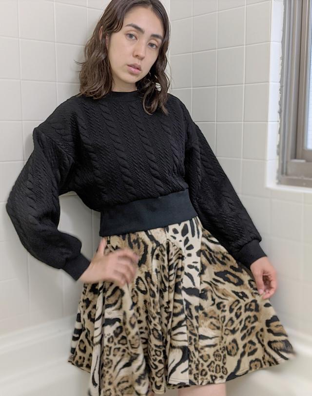 レパード柄スカート|ひざ丈