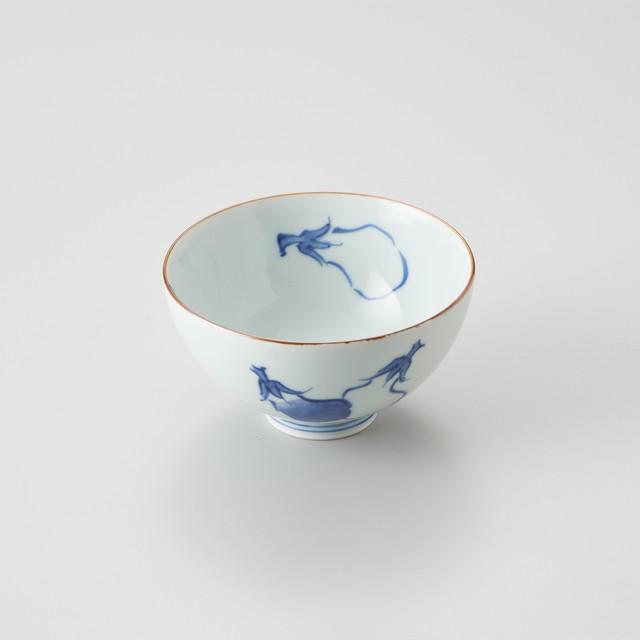 【青花】ナス絵 3.8寸丸飯碗