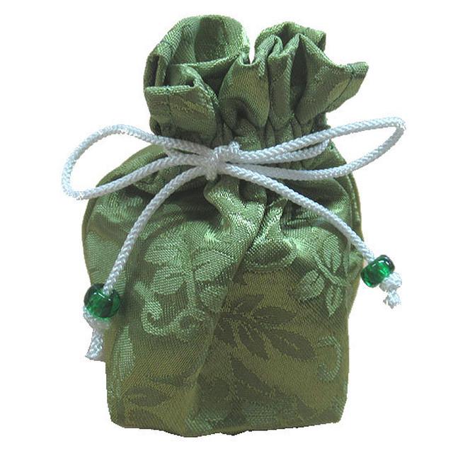 巾着-金襴緑-送料無料-kk002