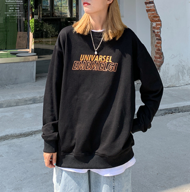 Front logo over size long tee LD0565