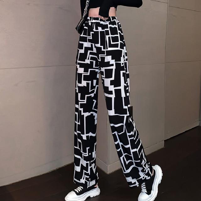 【ボトムス】ファッション黒白不規則チェック柄配色ハイウエストレギュラー丈カジュアルパンツ44298763