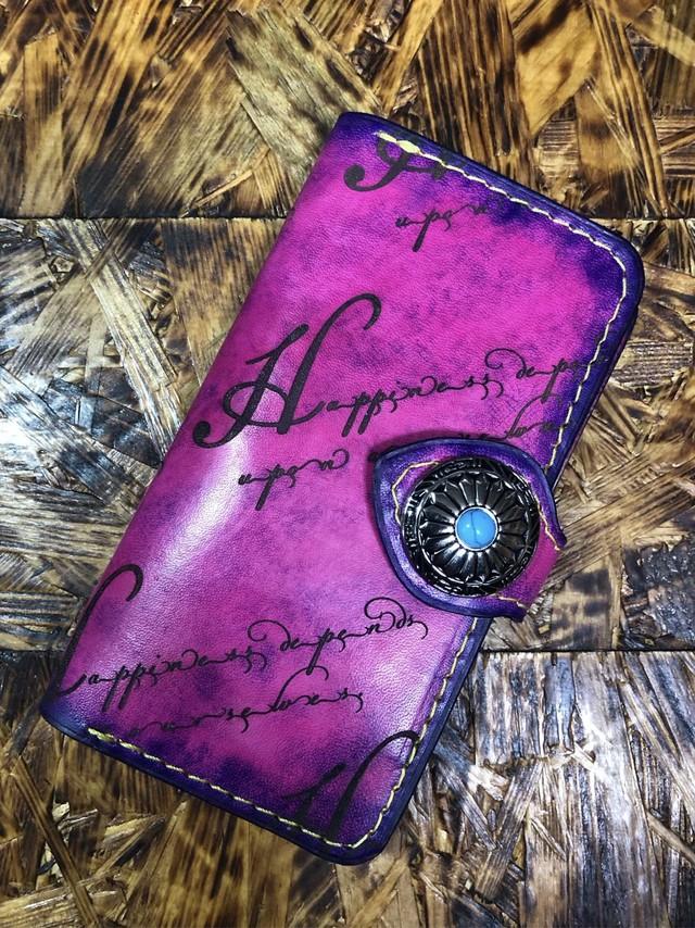 【現物販売】独特な色合いに手染めした手帳型iPhoneXケース(ピンク)