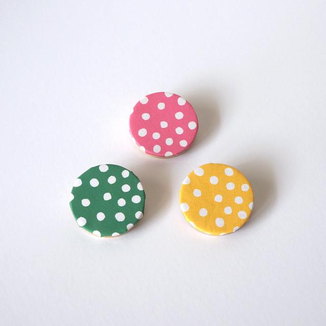 rondo brooch - dot ( ピンク / グリーン / イエロー )