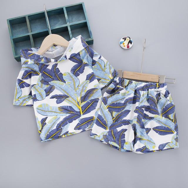 【セット】ファッション葉柄可愛い柔らかい半袖セット27424186