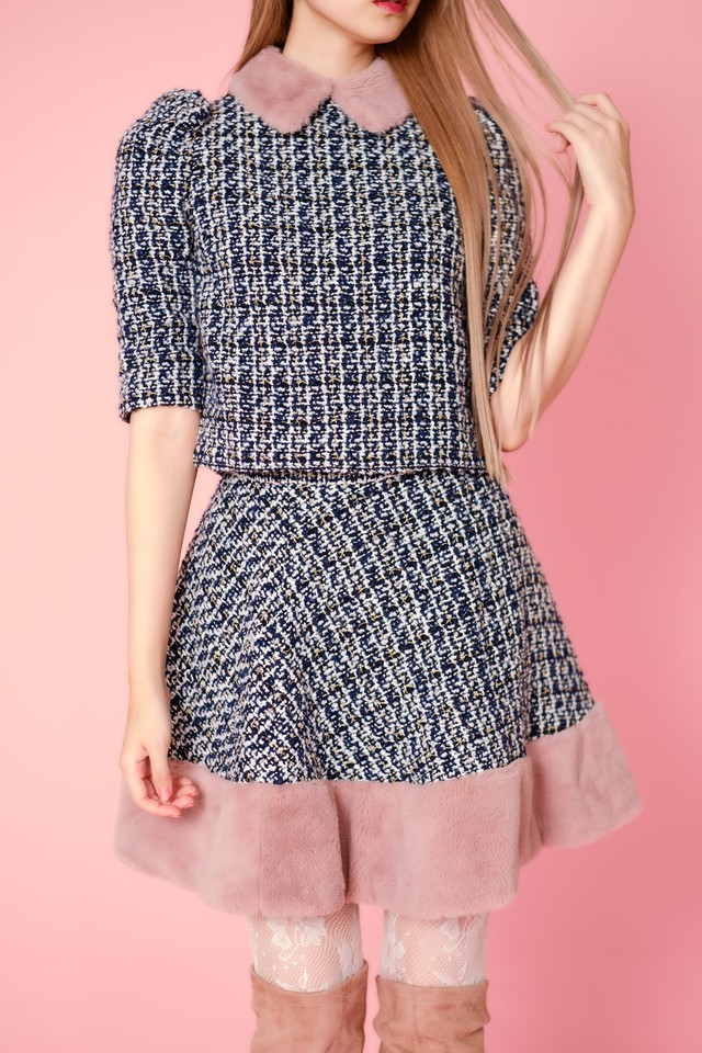【Lilien Room】IT GIRL's Set Up - skirt (Navy)