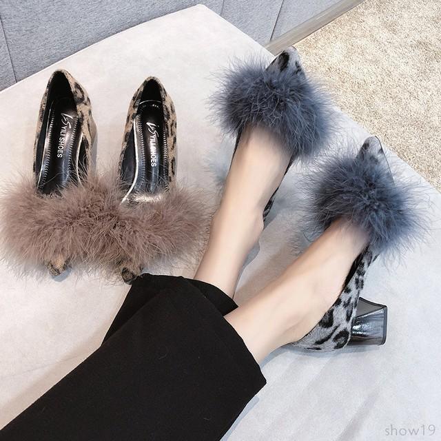 【シューズ】ファッションミドルヒールポインテッドトゥヒョウ柄ハイヒールパンプス36018752