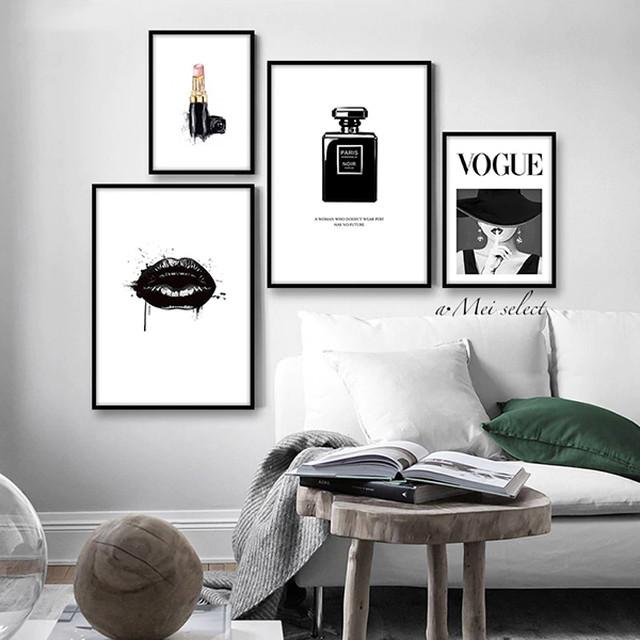 [4枚セット] モノトーンファッションデザインキャンバスアート インテリアアート ポスター 壁掛けインテリア