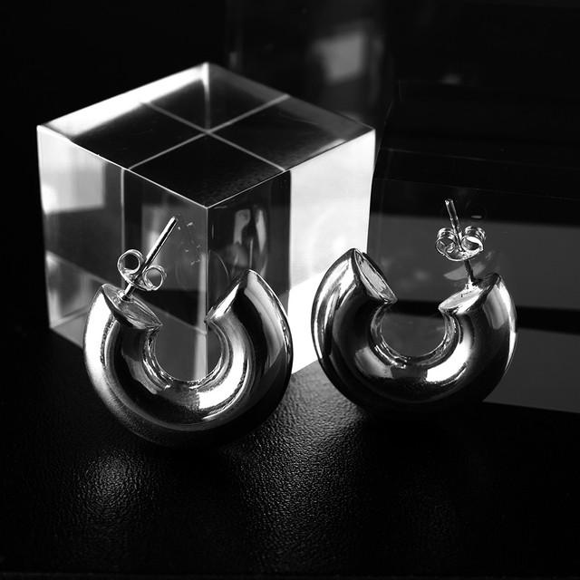silver half circle pierce