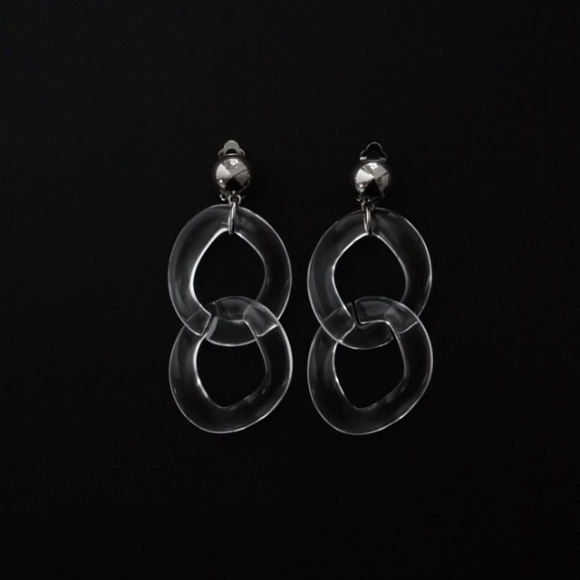 CLEAR CHAIN CONNECT EARRINGS