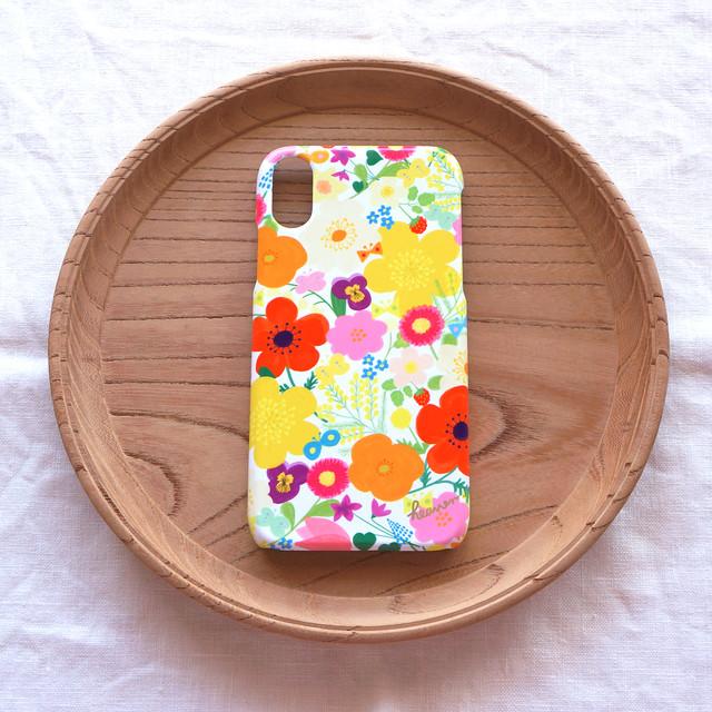 【iPhone / Android】側表面印刷*ハード型*スマホケース「happy garden (white)」● 受注生産