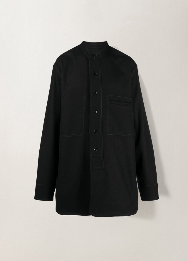 LEMAIRE LONG OVER SHIRT Black M 203 OW167 LF393