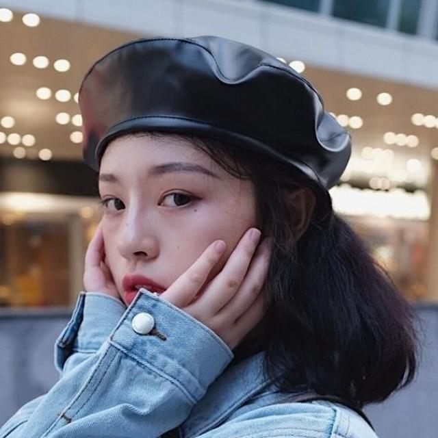 【hat】女子マスト合わせやすい多色PU切り替え無地画家帽子ベレー帽子