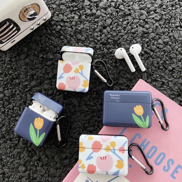 AirPods AirPodsPro ケース 韓国 フラワーデザインスクエアケース 花 フラワー シリコン フック付き カラビナ エアポッズ エアポッド プロ カバー かわいい 大人 可愛い お洒落 レディース メンズ お揃い 個性的 イヤホンケース