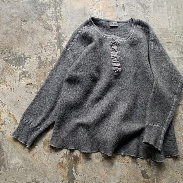 vintage henley neck knit pull over