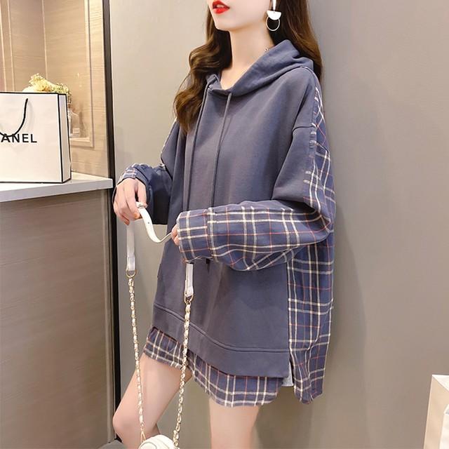 【トップス】韓国系チェック柄長袖フード付きプルオーバー折り襟パーカー51883876
