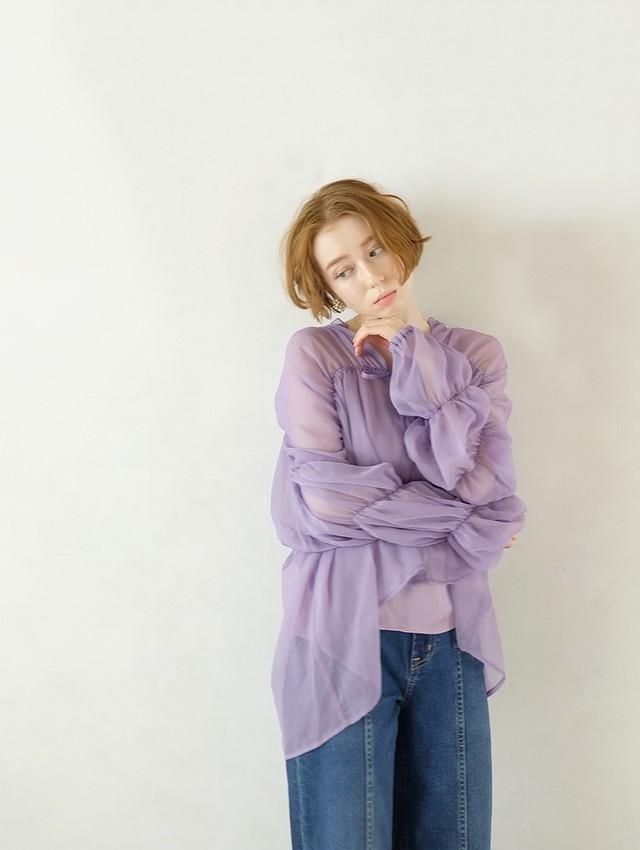 triple shirring blouse 2set(lavender)