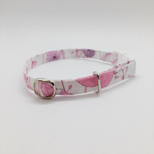 鮮やかな花が綺麗な猫の首輪-リバティ♫Irma-(リボンなし)ピンク【cat_2527】
