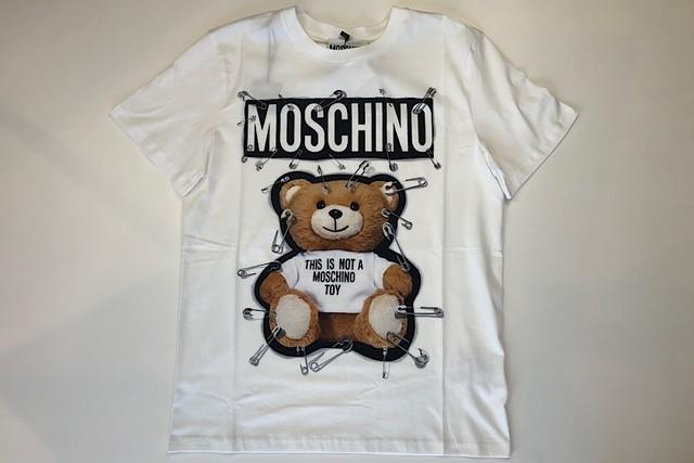 【MOSCHINO】プリント柄Tシャツメンズ/ホワイト