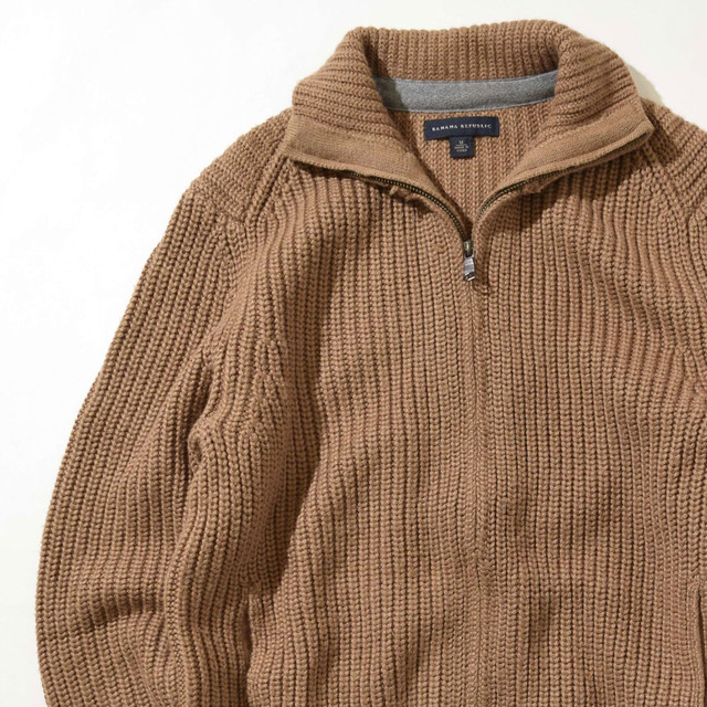 【Mサイズ】BANANA REPBLIC バナナリプバリック Zip Sweater セーター CML キャメル M 400604191209