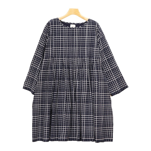 Maison de soil/メゾンドソイル/100'S KHADI CHECK WITH SELVAGE INVERTED PLEAT TUNIC WITH LINING【INMDS20112】