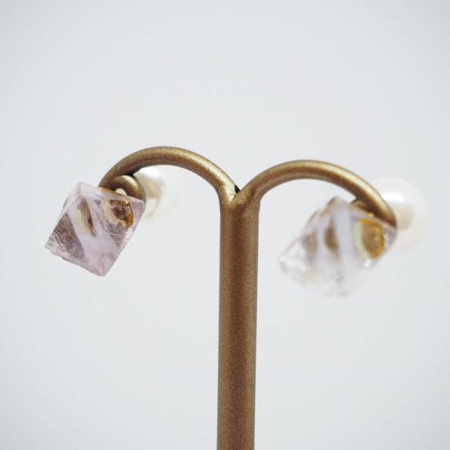 【if】fluorite piece ピアス/イヤリング(パープル)