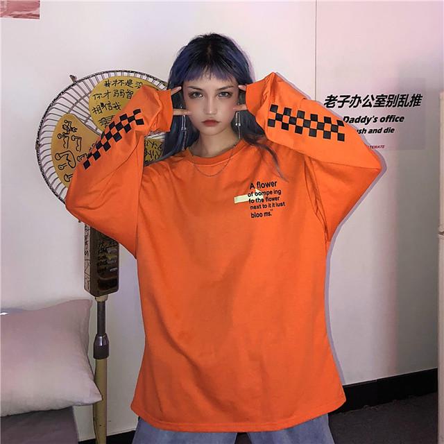 【トップス】ストリート系プリント長袖ラウンドネックプルオーバーTシャツ18135956