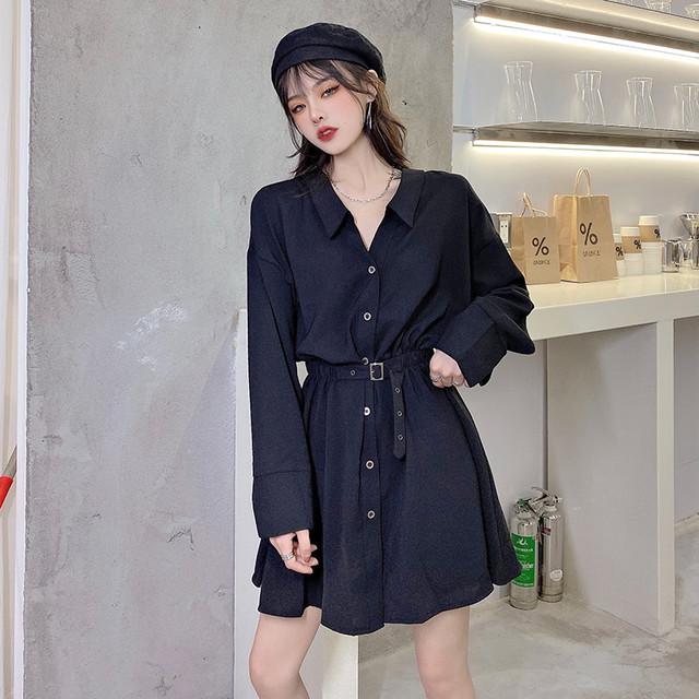 【ワンピース】韓国系長袖VネックAラインシャツワンピース32802062