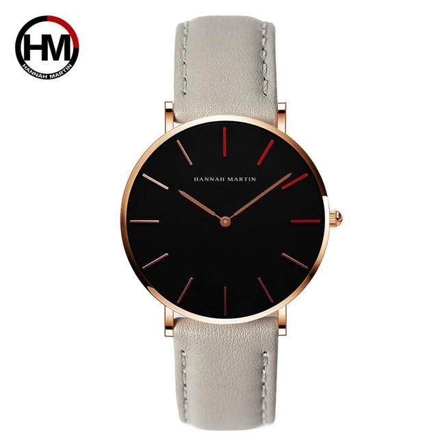 高品質の日本クォーツムーブメント防水デザインクリエイティブな女性の時計ローズゴールドブラックレザーレディース時計36mm1230-HR36-FQ