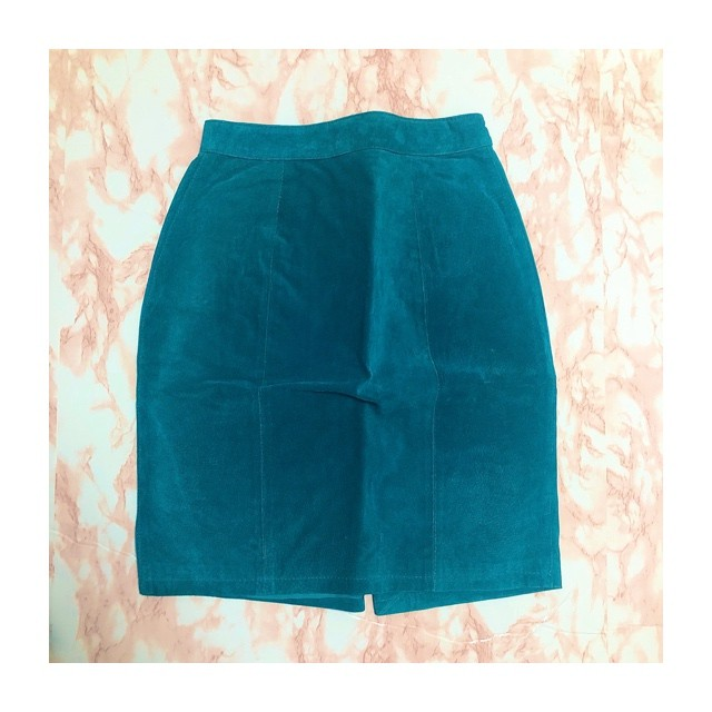 turquoise blue leather skirt