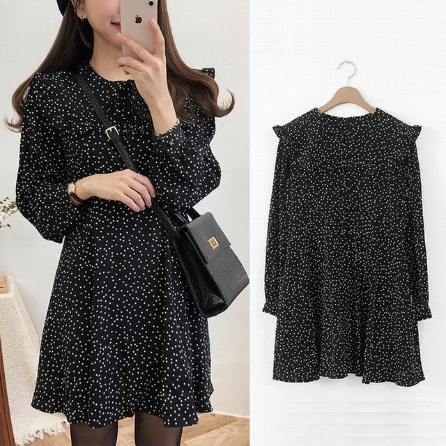 レディース 水玉シフォンワンピース ミニ フリル 春コーデ / Women's Spring and Autumn Polka Dots Chiffon Dress Retro French Girl platycodon (DCT-586958458291)