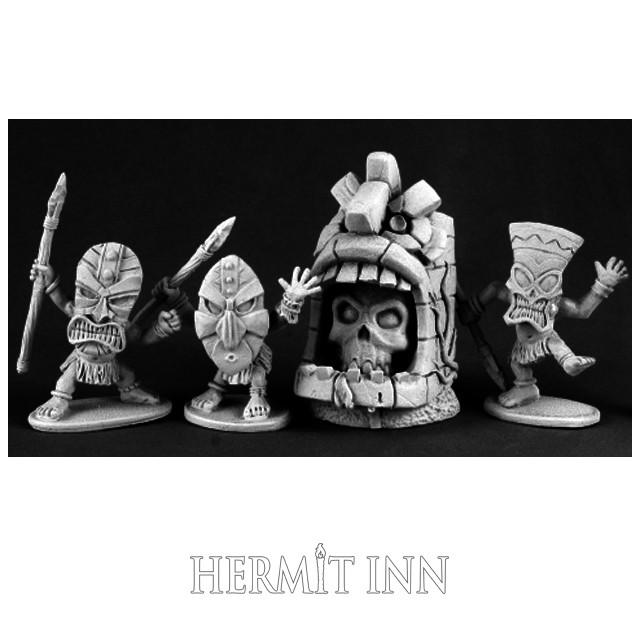 仮面の小人族と神像(4体) - メイン画像