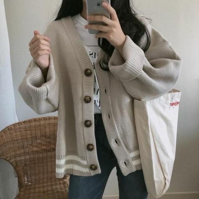 レディース カーディガン ニットカーディガン ベージュ アプリコット ニットカーデ ストライプ ライン レトロ 大人カジュアル 韓国 韓国ファッション / Loose wool knit cardigan coat apricot (DTC-600873126331_ap)