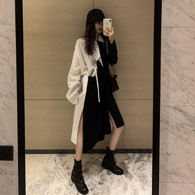 不規則デザイン シャツワンピース アシンメトリー サイドスリット 韓国ファッション レディース アシメ 異素材切り替え ハイウエスト 長袖 大人可愛い ガーリー / Drape stitch black and white color matching dress (DTC-627054851512)