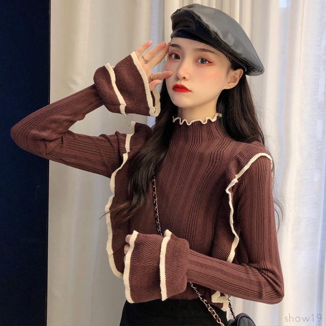 【トップス】セクシー切り替えギャザー飾り 配色 若見え セーター35511600