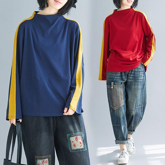 【tops】カジュアル長袖着痩せ厚手配色合わせやすいルーズハーフネックTシャツ