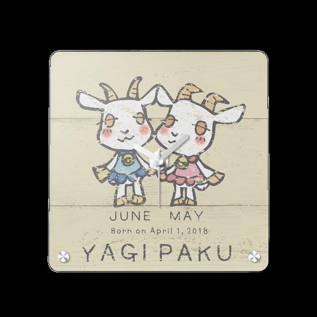 【アクリル置き時計】YAGIPAKU 双子のヤギの置き時計(税込・送料無料)