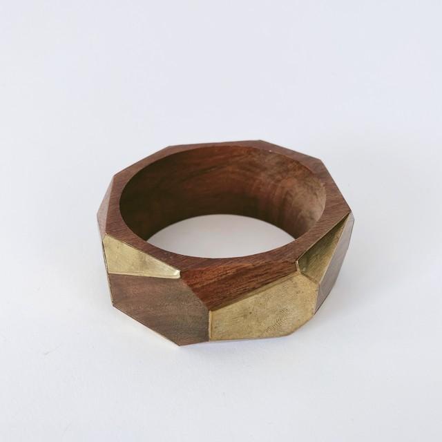 ◼︎70s vintage wood × brass geometric bangle from U.S.A.◼︎