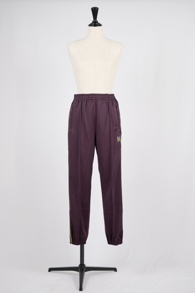 【Needles】zipped track pant poly smooth-maroon