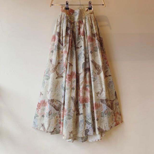 vintage flowers and birds design skirt