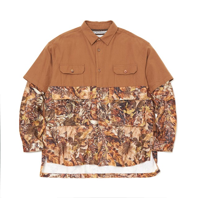 FALLEN LEAVES PRINTED CONTRASTED BIG SHIRT - BROWN