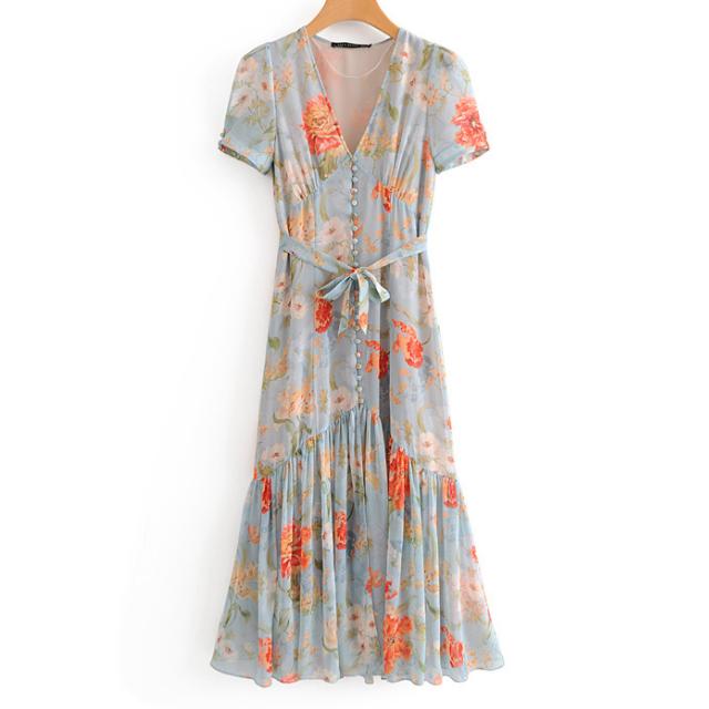 フラワー ウエストリボン ドレス【R1095】