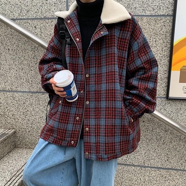 [ 残り1点 ] color check boa jacket PDR2185